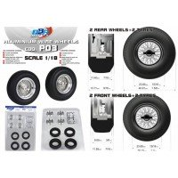 Aluminium Wire Wheels (2 front wheels + 2 front tyres & 2 rear wheels + 2 rear tyres),